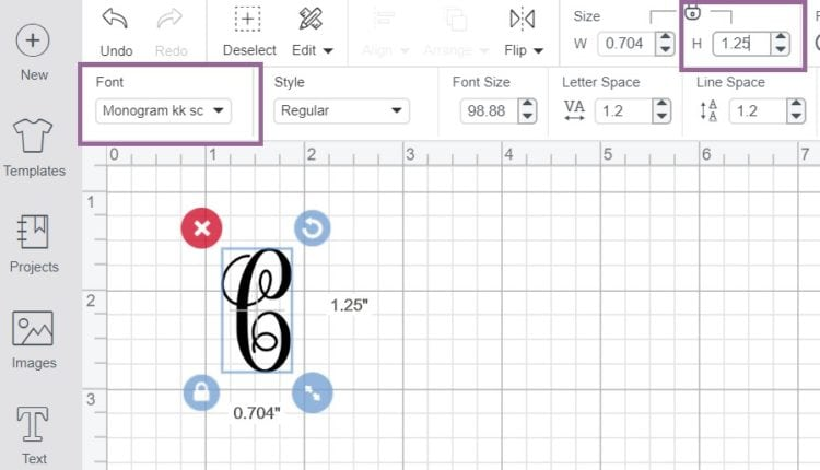Cricut Design Space Screenshot showing where to change the font and height of the initial