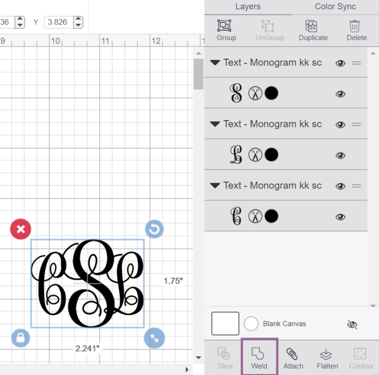 Cricut Design Space screenshot of using the Weld Tool