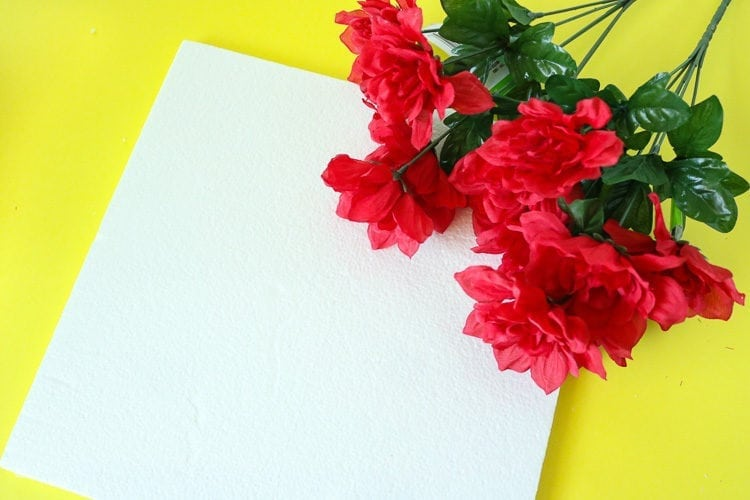 Red Dahlia Flowers from Dollar Tree and Square Foam Board Supplies