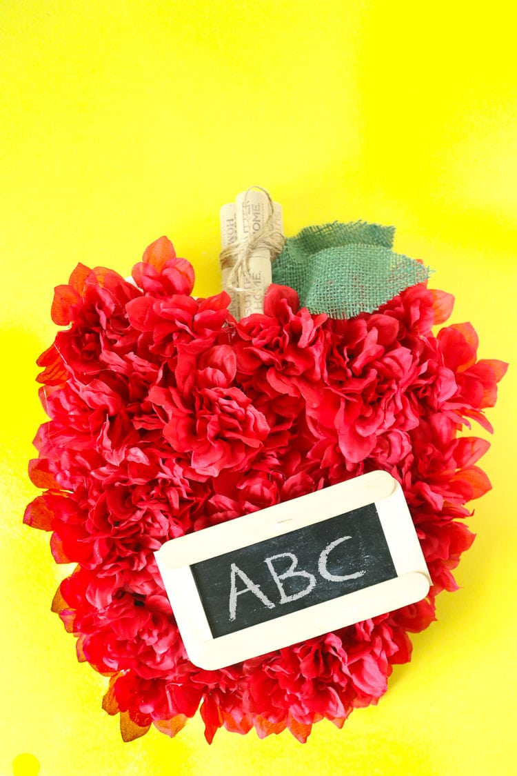 Back To School Apple Wreath made with Faux Flowers