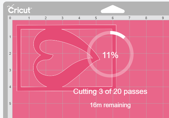Cricut Design Space showing how many passes and how much time you have left