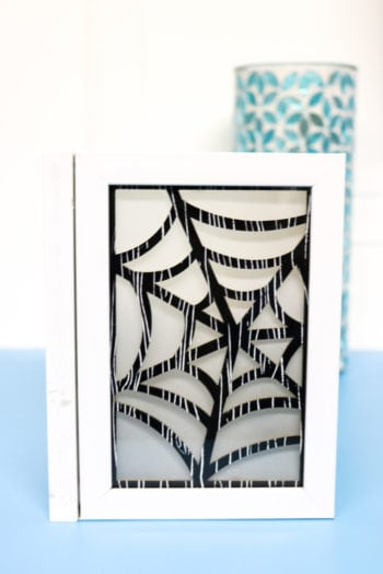 Spiderweb chipboard insert into Photo Luminary