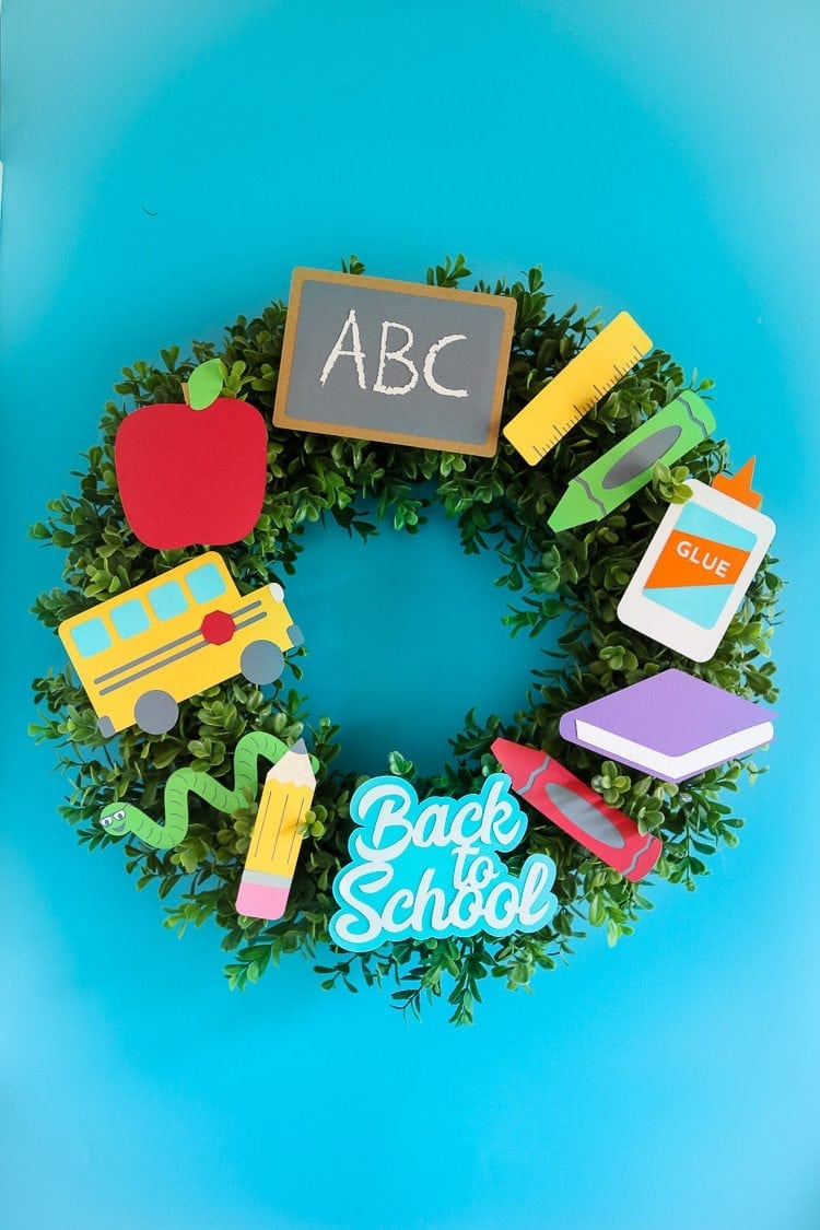 Boxwood Wreath with Paper Back to School cutouts