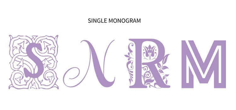 4 Examples of Single Monograms in different types of free monogram fonts