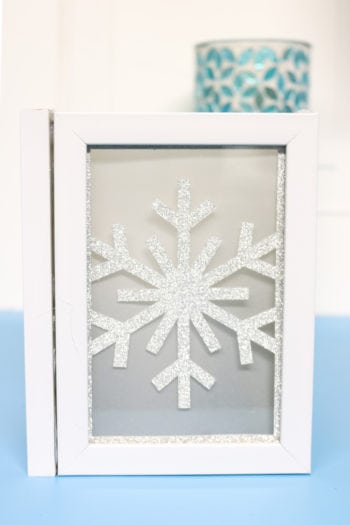 Snowflake chipboard insert into Photo Luminary