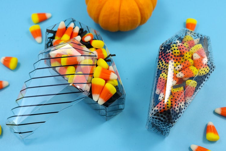 Coffin Treat Boxes filled with Candy Corn for a Halloween Treat Idea