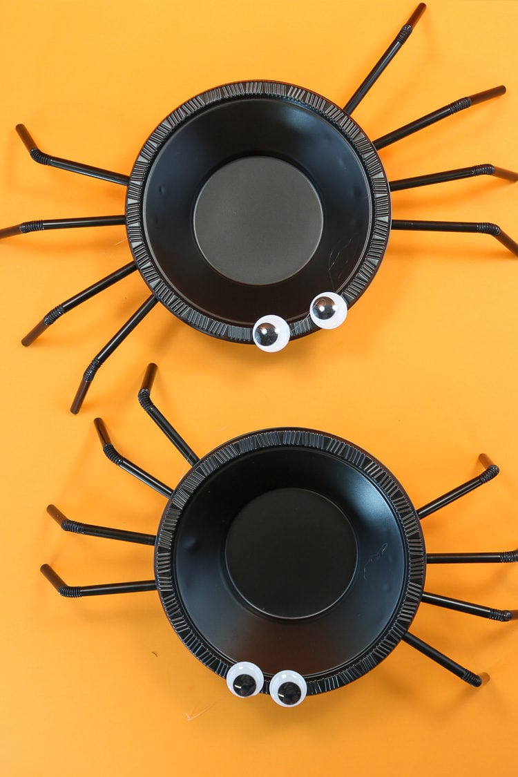 Two Finished Spider Halloween Treat Bowl made from plastic bowls and straws