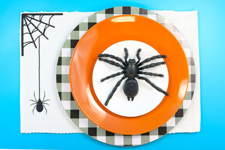 Halloween Place setting with spider placemat