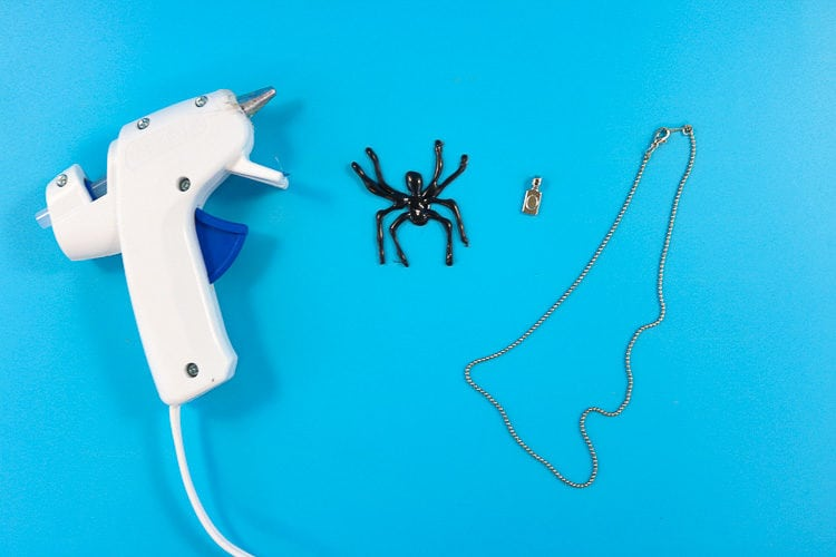Glue Gun, Hot Glue Spider, Necklace Bail & Necklace Chain ready to be assembled