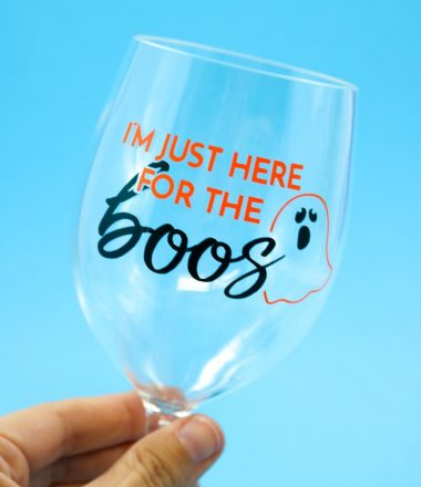 Wine Glass with Halloween Vinyl Decal