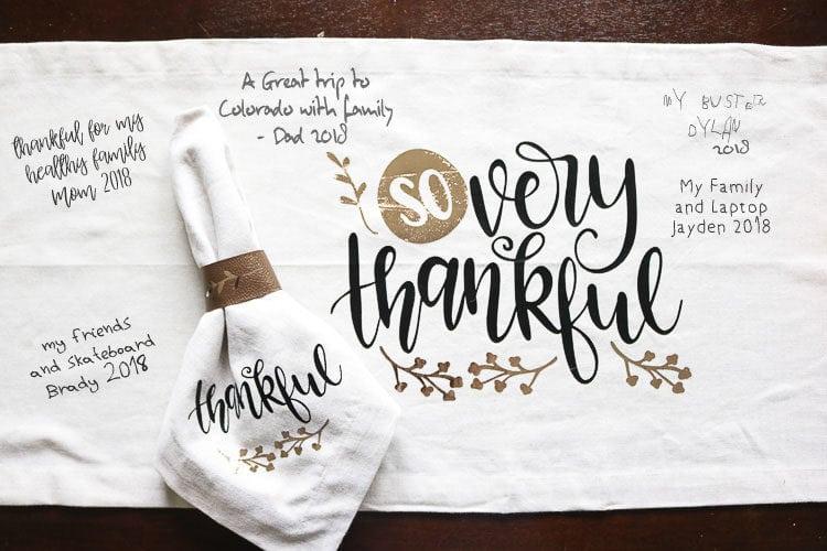 Table runner with family's written thanks