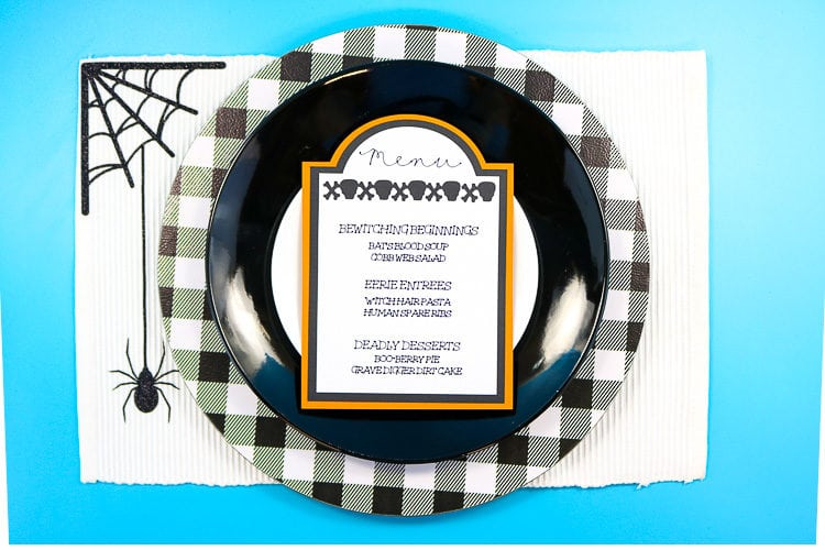 Table setting with tombstone menu cards