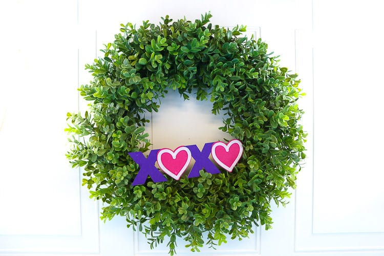 Boxwood Wreath with XOXO Valentine Chipboard and Felt decoration