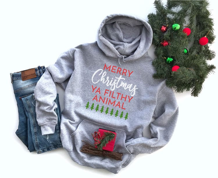 Grey Hoodie with Christmas Saying in Iron On