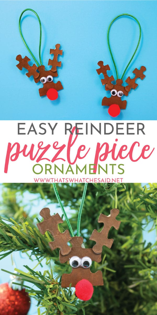 In need of a quick and easy Christmas Craft? These Reindeer Puzzle Piece Ornaments are simple to make, great for group projects and so cute! Perfect way to upcycle those puzzles with missing pieces!