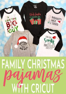 Family Christmas Pajamas that can be easily made with your Cricut! Use Multiple designs or give each family member their own.