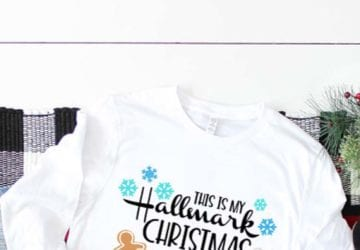 White Cozy Shirt with Hallmark Movie Channel Christmas Movies SVG file pressed