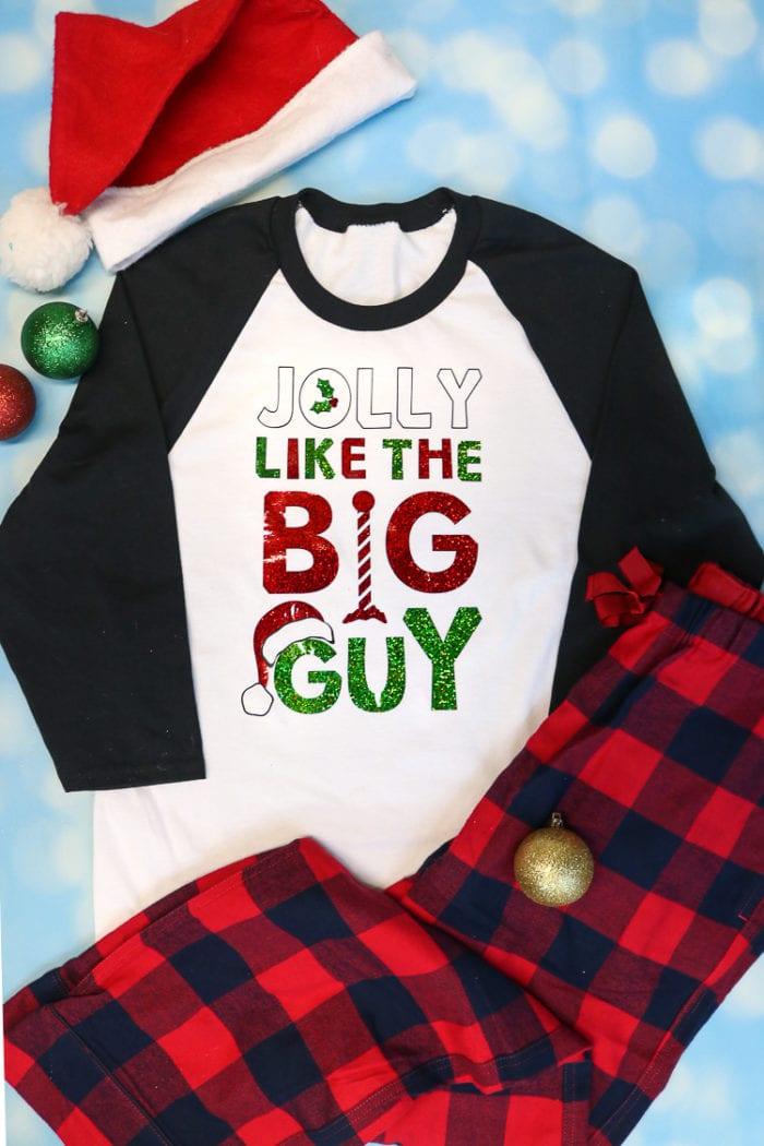 White and Black Raglan T Shirt with Holographic Iron on Design for Christmas Pajamas