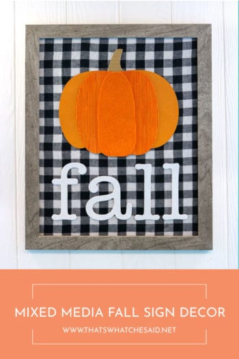Indoor DIY Fall Decor - Pumpkin Sign Decor