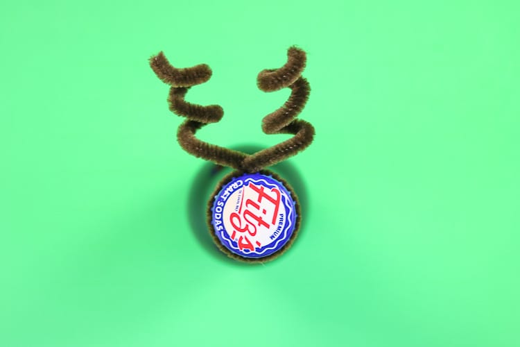 Brown Pipe Cleaners Twisted around a bottle to create antlers