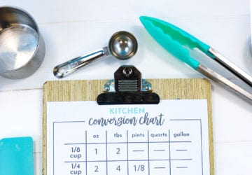 Baking/Cooking Conversion Chart on a Clipboard with Kitchen Utensils