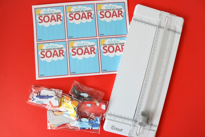 printable, paper cutter and packages of foam airplanes for airplane valentine cards