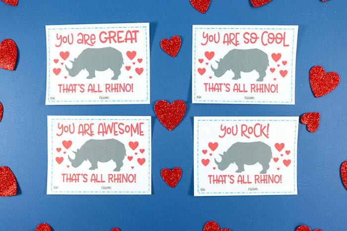 Printable Rhino Valentine Day Cards