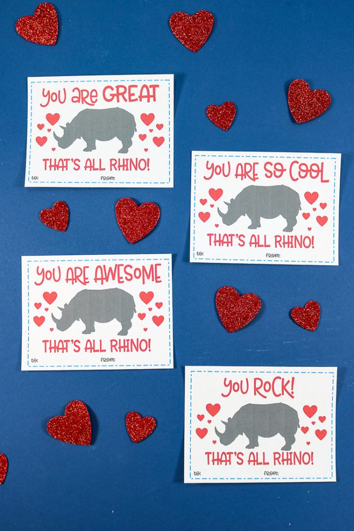 photo regarding Printable Valentines Pictures named Rhino Printable Valentines Working day Playing cards - Thats What Che