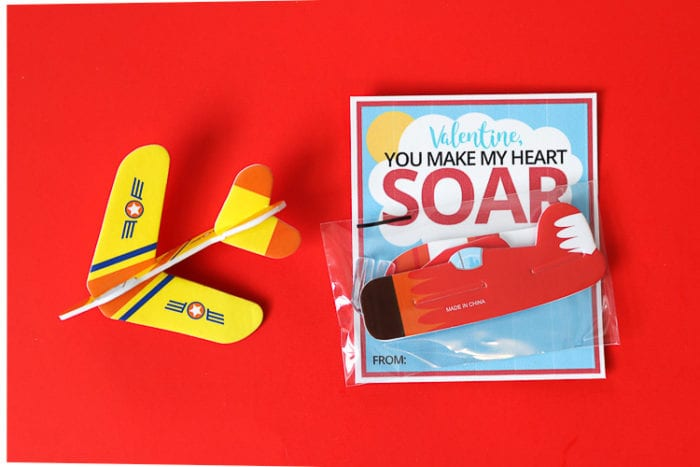Non-Candy Airplane Valentine's Day Card