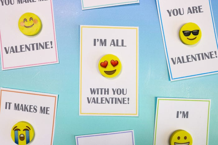 Close Up of Emoji Eraser Valentine Cards for class parties