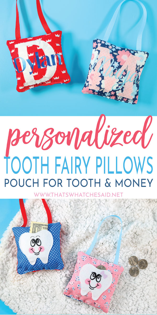 Personalized Tooth Fairy Pillows made with the Cricut Maker! Easily cut fabric and felt and iron on and whip these up in less than an hour!