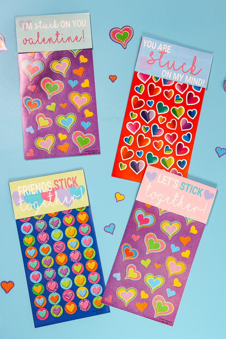 Sticker Sheets with Free Printable Paper toppers to make them Valentine Cards