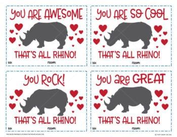 Image of the Free Printable Rhino Valentine's Day Cards