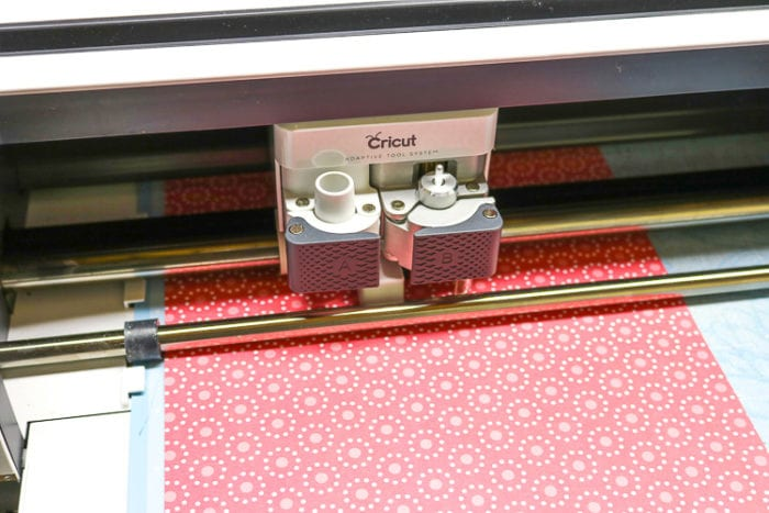 Cricut Maker cutting Pink patterned scrapbook paper