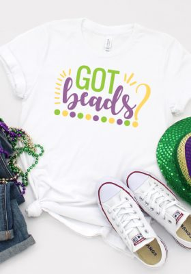 White Shirt with SVG Design of Got Beads? with Glitter iron on