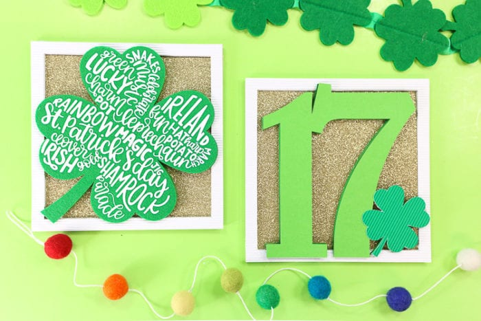 2 Layered St. Patricks Day Signs made with the Cricut Maker