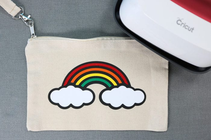 Pencil Pouch with Rainbow Design made from Layered Everyday Iron on
