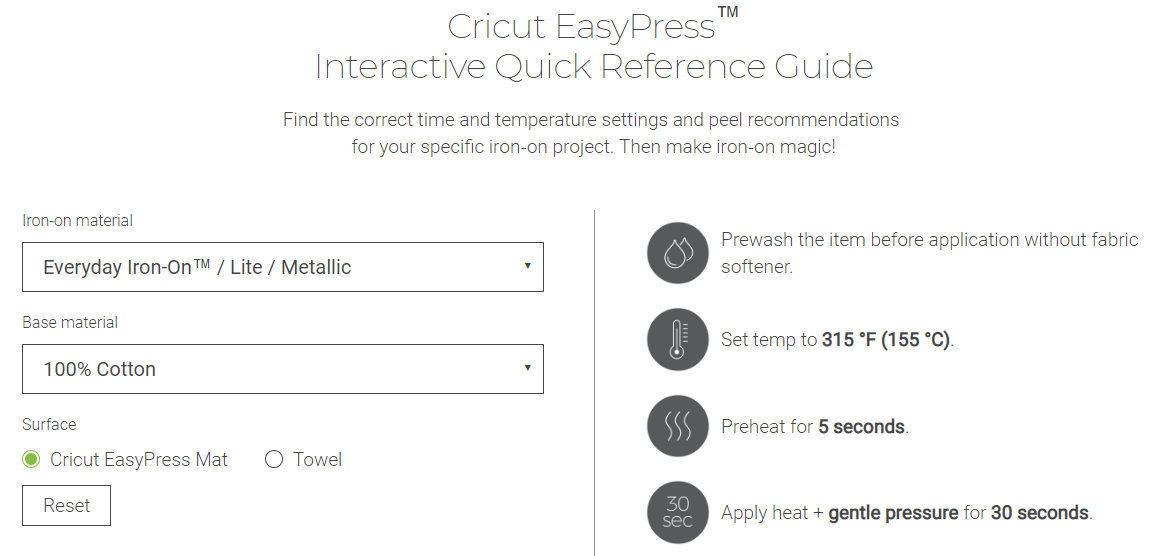 Screenshot of Cricut Recommended EasyPress Settings