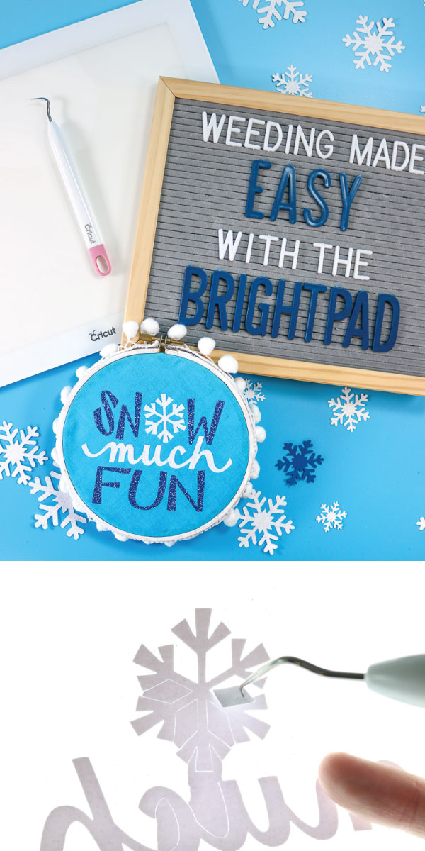 Easily weed intricate designs or specialty material such as glitter vinyl and iron with the Cricut BrightPad.  A helpful tool to help your eyes and quickly weed your project.