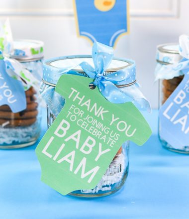 Cookie Jar Baby Shower Favors with Print Then Cut Tags