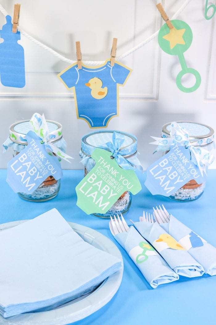 Print then cut Banner, shower favors and napkin rings for baby shower