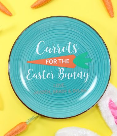 Aqua Plate with Vinyl Easter Design