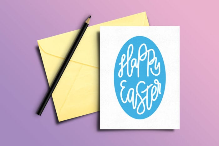 Greeting Card with Free Easter SVG on front in cardstock