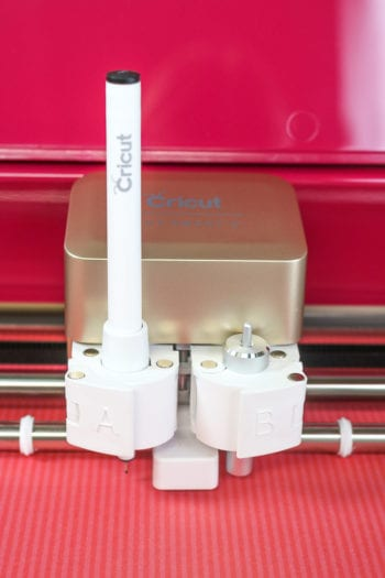 Cricut Pen in the Carriage of the Explore Air 2 Wild Rose Edition