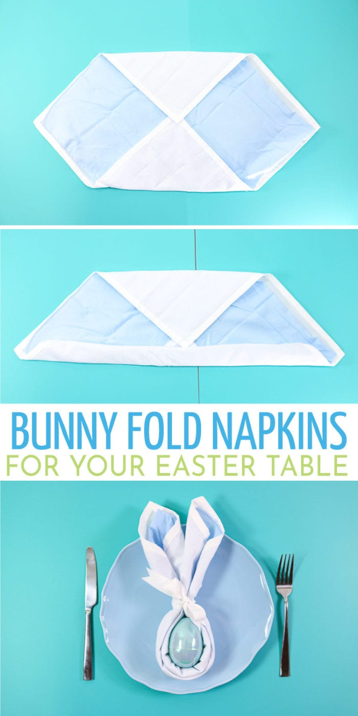 Napkins that are folded into Bunny Shapes that are perfect for your Easter Place Settings at your Easter Table.