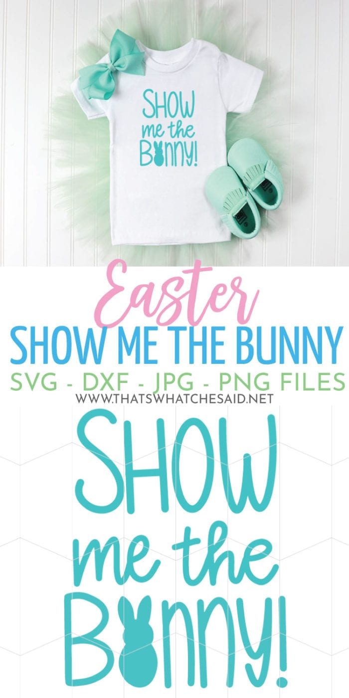 Show me the Bunny!  A fun Easter play on a famous movie quote makes a great Easter shirt or tote!  Put it on a fabric basket for your little egg hunter!