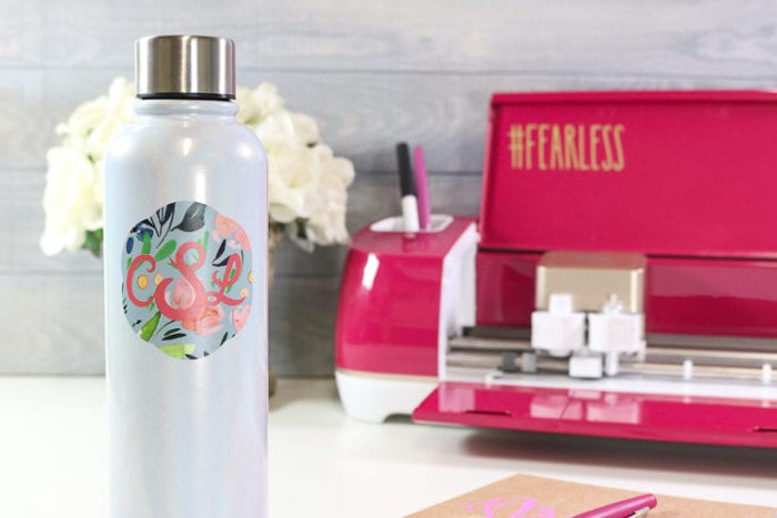 Custom Water Bottle made with Layered Patterned Vinyl and the Cricut Explore Air 2 Wild Rose Edition