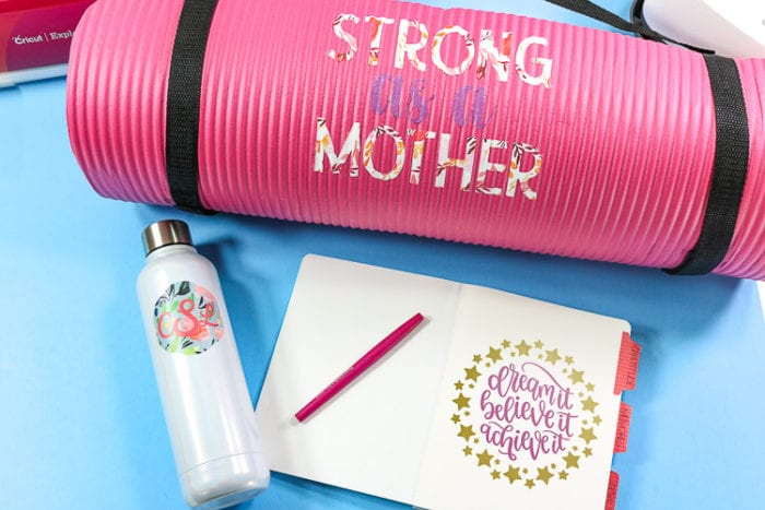 Custom Yoga Mat, DIY Journal and Layered Monogram Water bottle made with the Cricut Explore Air 2 Wild Rose Bundle.