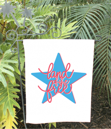 Garden Flag with Free Land of the Free SVG ironed on