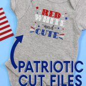 Red White and Cute baby bodysuit with graphic description overlay for pinterest